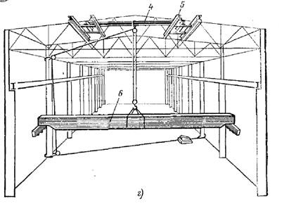 Рис2.2 Схемы монтажа мостовых кранов:4,5- монтажные балки; 6- полумост; 7- лебедка; 8- полиспаст.